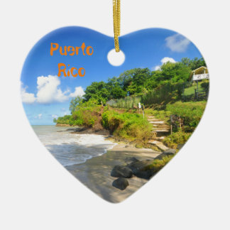 Tropical island in Puerto Rico Ceramic Heart Decoration