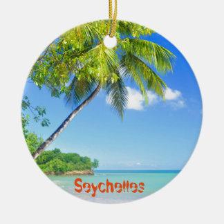Tropical island in Seychelles Round Ceramic Decoration