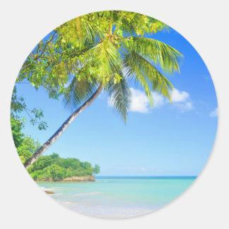 Tropical island in Seychelles Round Sticker