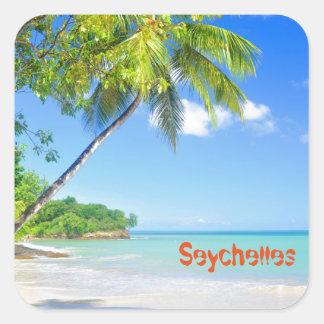 Tropical island in Seychelles Square Sticker