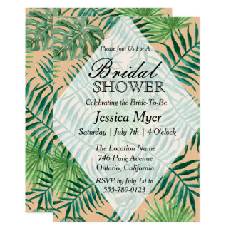 Tropical Island Leaf Bridal Shower Invitation