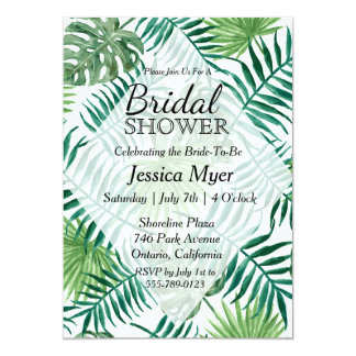 Tropical Island Leaf Bridal Shower Invitation