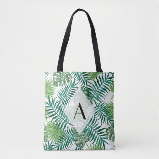 Tropical Island Leaves Monogram Tote Bag