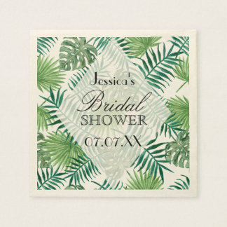 Tropical Island Leaves Personalized Paper Napkin