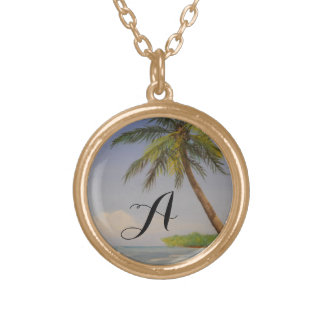 Tropical Island Palm Tree Monogram Letter Initial Round Pendant Necklace
