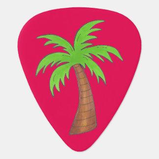 Tropical Island Palm Tree Trees Hot Pink Green Guitar Pick