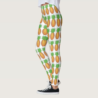 Tropical Island Pineapple Pineapples Fruit Print Leggings