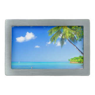 Tropical island rectangular belt buckle