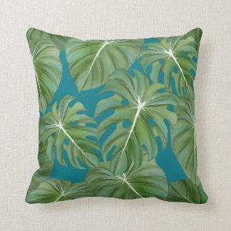 Tropical Island Resort Rainforest Leaves Modern Throw Pillow