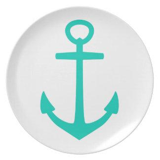 Tropical Island Sea Anchor on White Plate