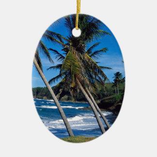 Tropical Island Summer Waves St Lucia Christmas Ornament