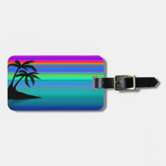Tropical Island Sunset Luggage Tag