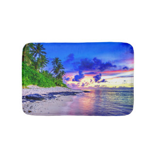 Tropical Island Sunset Paradise Bath Mat