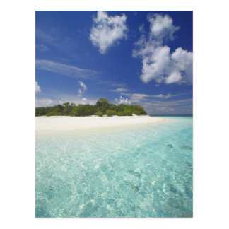 Tropical island surrounded by lagoon, Maldives, Postcard
