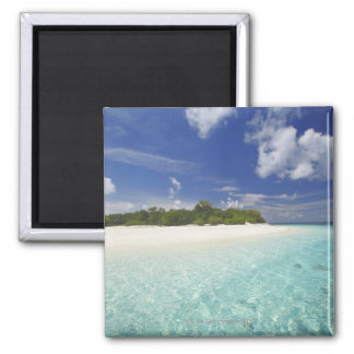 Tropical island surrounded by lagoon, Maldives, Square Magnet