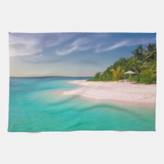TROPICAL  ISLAND, TURQUOISE WATER, PINK SAND BEACH TEA TOWEL