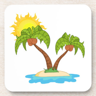 Tropical Island with Two Palm Trees Beverage Coaster