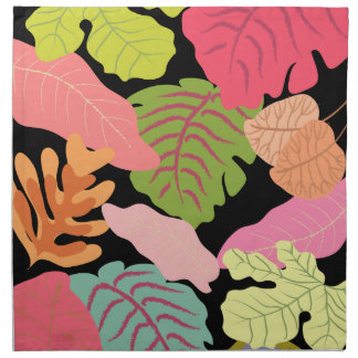 Tropical Jungle Leaves Pattern Vector Art Printed Napkins