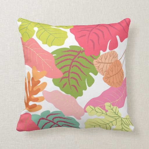 Tropical Jungle Leaves Pip Pip Hooray Vector Art Throw Pillows