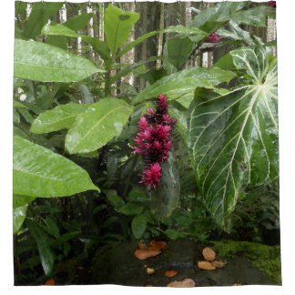 TROPICAL JUNGLE WITH GIANT LEAVES AND DEEP PINK FL SHOWER CURTAIN
