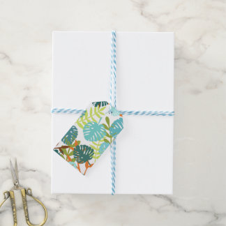 Tropical jungle with palm leaves gift tags