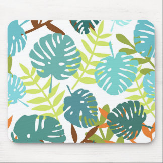Tropical jungle with palm leaves mouse mat