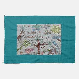 Tropical kids tea towel