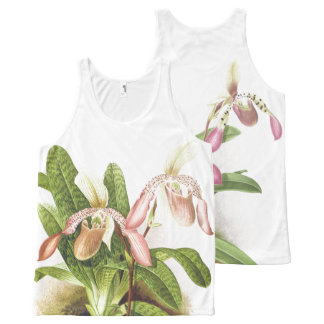 Tropical Ladys Slipper Orchid Flowers Floral All-Over Print Tank Top