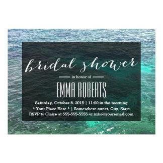 Tropical Lagoon Blue Water Bridal Shower Announcement