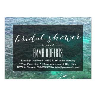 Tropical Lagoon Blue Water Bridal Shower 5x7 Paper Invitation Card