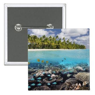 Tropical Lagoon in South Ari Atoll 15 Cm Square Badge