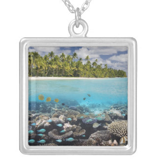 Tropical Lagoon in South Ari Atoll Silver Plated Necklace