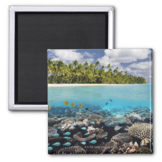 Tropical Lagoon in South Ari Atoll Square Magnet
