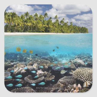 Tropical Lagoon in South Ari Atoll Square Stickers