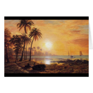 Tropical Landscape With Fishing Boats by Bierstadt Card