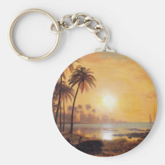 Tropical Landscape With Fishing Boats by Bierstadt Key Ring
