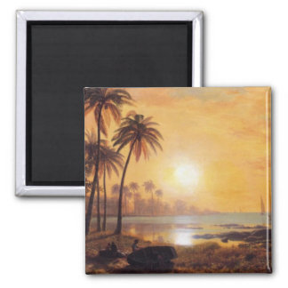 Tropical Landscape With Fishing Boats by Bierstadt Square Magnet