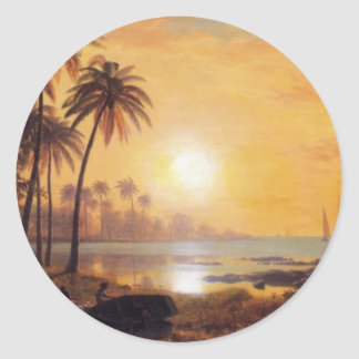 Tropical Landscape With Fishing Boats by Bierstadt Round Sticker