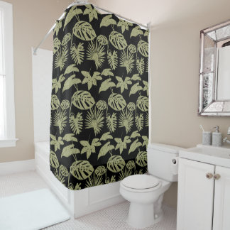 Tropical Leaf Foliage Green Batik Black Silhouette Shower Curtain