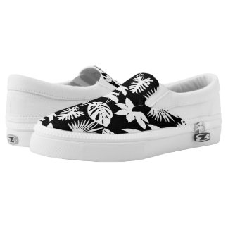 Tropical Leaf Foliage White on Black Silhouettes Printed Shoes