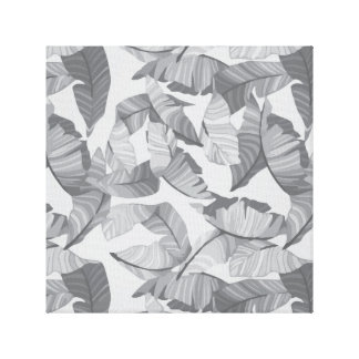 Tropical Leaf Grey Design Canvas Print