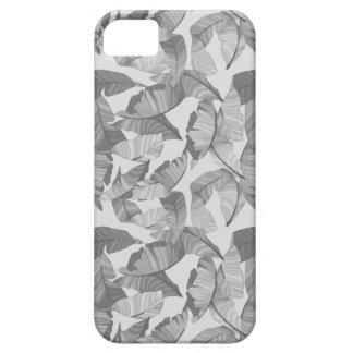 Tropical Leaf Grey Modern Phone Case