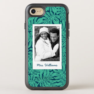 Tropical Leaf Pattern | Add Your Photo & Name OtterBox Symmetry iPhone 8/7 Case