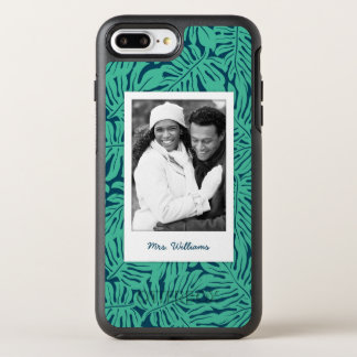 Tropical Leaf Pattern | Add Your Photo & Name OtterBox Symmetry iPhone 8 Plus/7 Plus Case