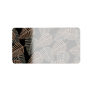 Tropical Leaf Pattern in Brown, Gray and Black. Label