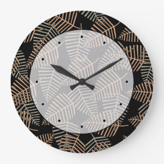 Tropical Leaf Pattern in Brown, Gray and Black. Large Clock