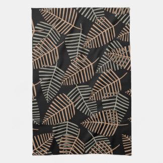 Tropical Leaf Pattern in Brown, Gray and Black. Tea Towel
