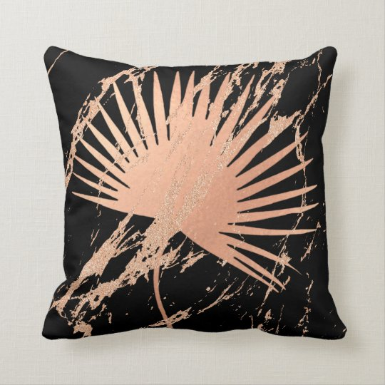Tropical Leaf Pink Rose Gold Blush Abstract Black