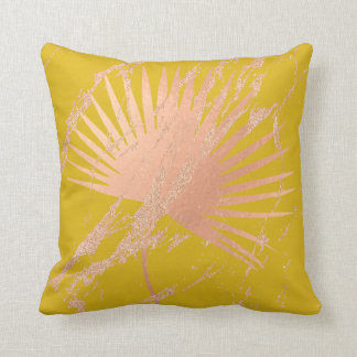 Tropical Leaf Pink Rose Gold Blush Botanic Lemon Cushion