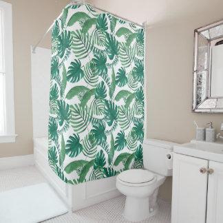 Tropical Leafy Print Shower Curtain